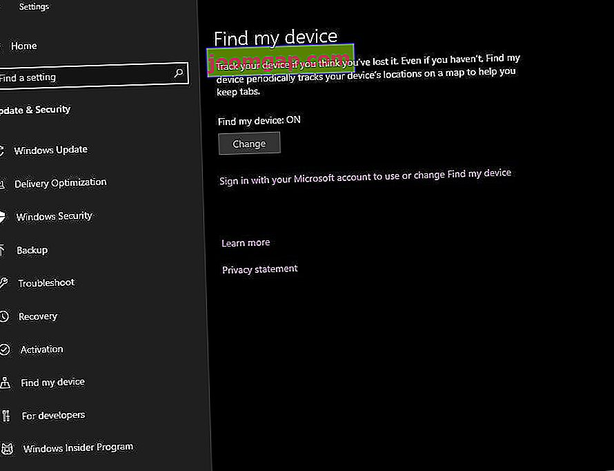 Pengaturan Windows Find My Device di screenshot Windows 10