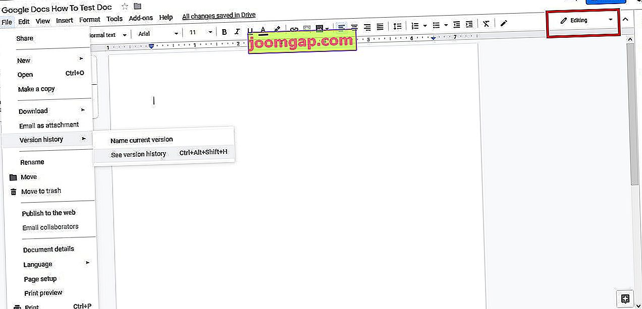 Screenshot des Google Text & Tabellen-Revisionsverlaufs