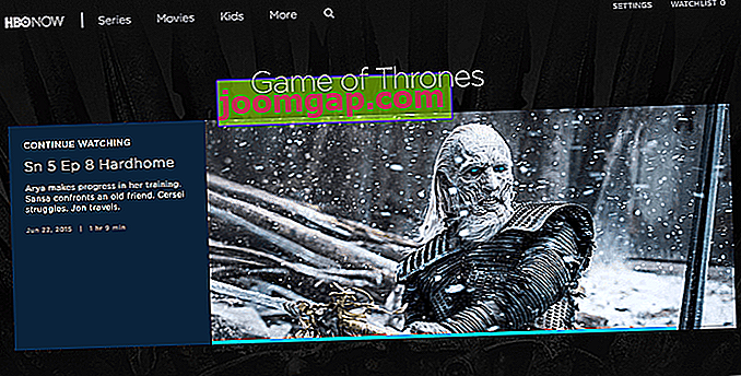 Wie man Game of Thrones online sieht HBO Now-Oberfläche