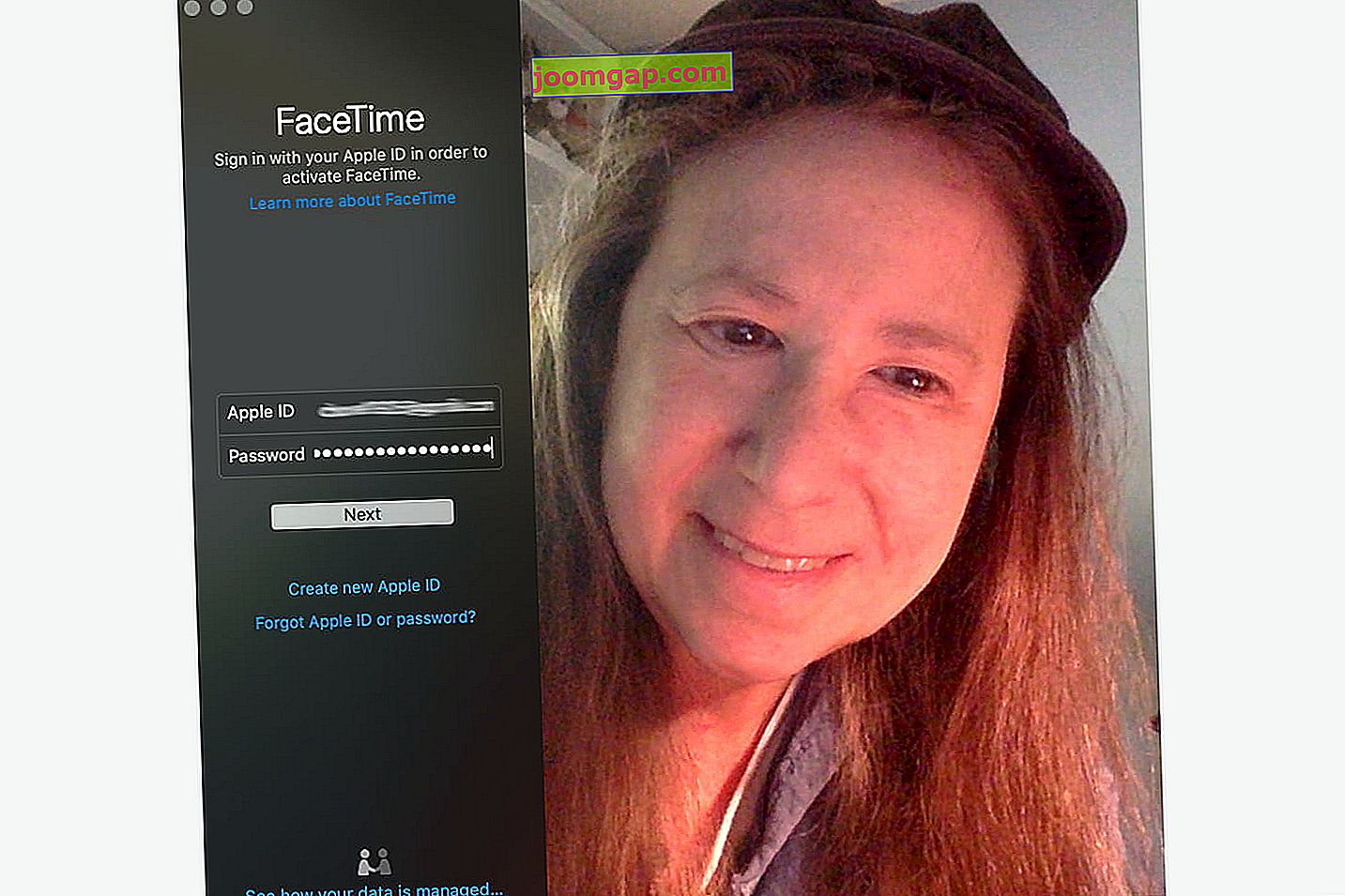 Interfaccia FaceTime per Mac